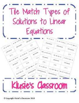 Types of Solutions to Linear Equations Tile Match