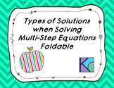 Types of Solutions to Multi-Step Equations Foldable