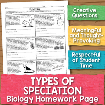 Types Of Speciation Biology Homework Worksheet By Science With Mrs Lau