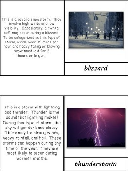 types of storms 3 part cards