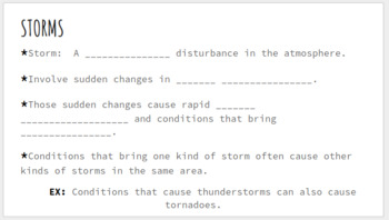 Types of Storms - Notes & Jigsaw Activity