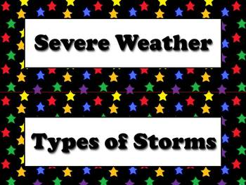 Types of Storms and Severe Weather Vocabulary Strips - Superstars Theme