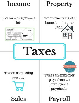 Types of Taxes Anchor Chart