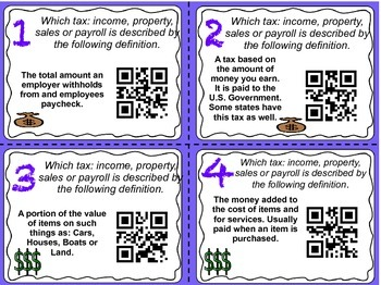 Types of Taxes QR Task Cards ( property, sales, income, payroll)