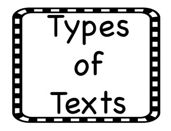 Types of Texts Posters