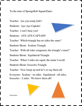 Types of Triangles Song {To the tune of SpongeBob SquarePants}