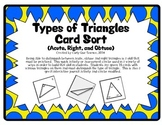 Types of Triangles Card Sort (Acute, Right, and Obtuse)