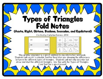 Types of Triangles Fold (Acute, Right, Obtuse, Scalene, Isosceles, Equilateral)