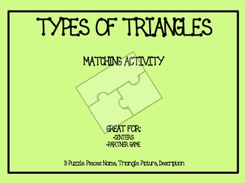 Classifying Triangles Matching Activity: Puzzle Pieces
