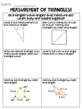 Types of Triangles Notes Pages