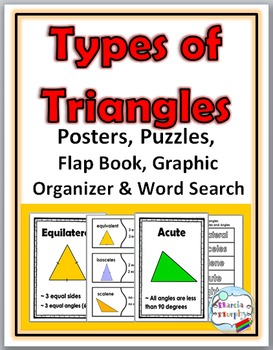 Types of Triangles Posters, Puzzles, Flap Book, Graphic Or
