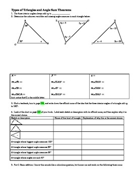 Types of Triangles and Angle Sum Theorems with Answer Key (Editable)
