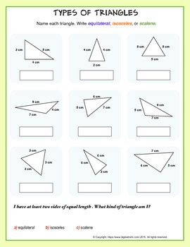 Types of Triangles (equilateral, scalene, or isosceles) by Biglearners