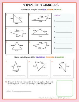 Types of Triangles (equilateral, scalene, or isosceles)