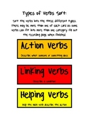 Types of Verb Sort - action, linking, and helping!
