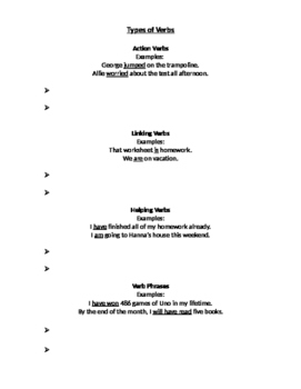 Types of Verbs Notetaking Sheet