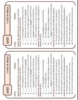 Types of Verbs: Ten-Minute Grammar Unit #6