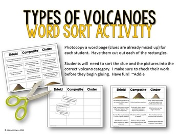Types of Volcanoes Word Sort Activity