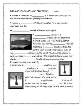 Types of Volcanoes and Eruptions Note-taking guide