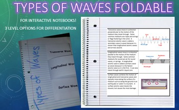 Types of Waves Foldable for Interactive Notebook or Binder