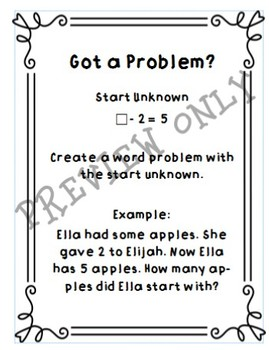 Types of Word Problems Stations for Subtraction