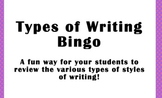 Types of Writing Bingo