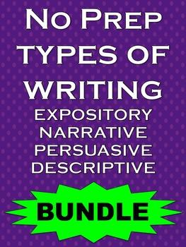 BUNDLE Persuasive, Narrative, Expository & Descriptive Writing Activities