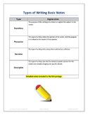 Types of Writing (Notes, Group Project, and Paragraph Assignment)