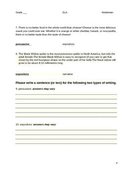 Types of Writing Quiz