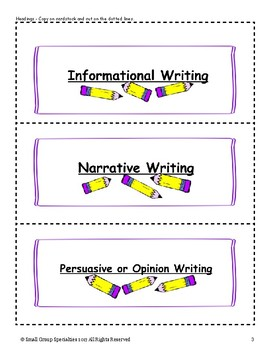 Types of Writing Sorting Cards