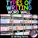 Types of Writing Word Wall ~ 35 Writing Posters or Flashcards