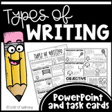 Types of Writing PowerPoint, Task Cards, & Posters