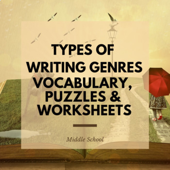 Types of Writing Genre- vocabulary, puzzles & matching sheets