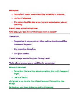 Types of Writing with Prompts