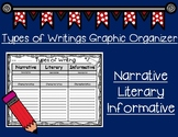 Types of Writings Graphic Organizer: Narrative, Literary,