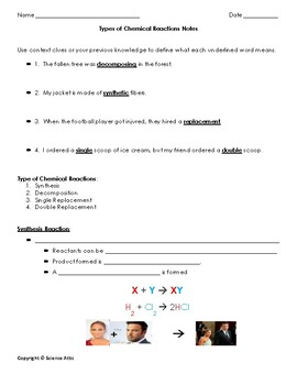 Types of chemical reactions guided notes