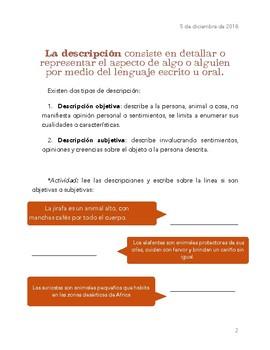 Types of description in Spanish