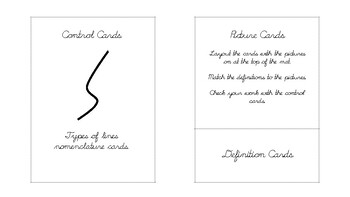 Types of lines Geometry nomenclature cards in d'nealian cursive font