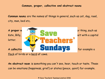 Types of noun - Proper, common, abstract and collective nouns Worksheet