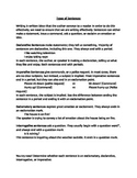 Types of sentences: Declarative, Interrogative, Exclamator