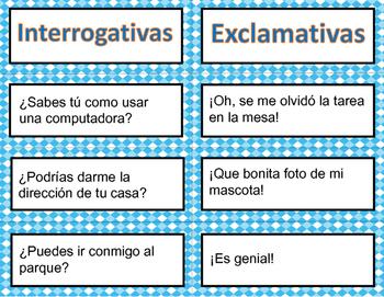 Types of sentences Matching Game (Spanish) / Tipos de oraciones