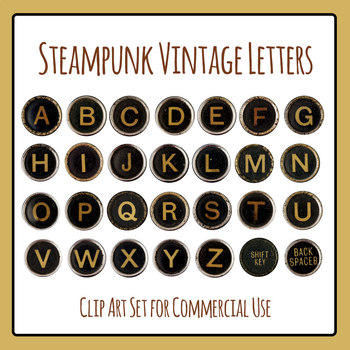 Typewriter Keys / Letters in Vintage, Grunge, Steampunk St