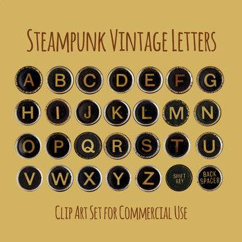 Typewriter Keys / Letters in Vintage, Grunge, Steampunk Style Photo Clip Art