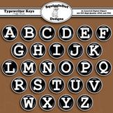 Typewriter Keys Puffy Brads Clip Art