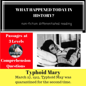 Typhoid Mary Differentiated Reading Passage March 27