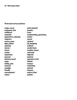 Typical Literary Themes & Tone and Mood Words