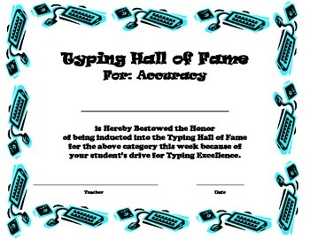 Typing Hall of Fame Certifications