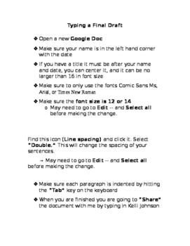 Typing a Final Draft on Google Docs Handout