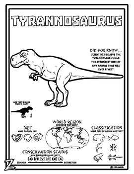 Tyrannosaurus -- 10 Resources -- Coloring Pages, Reading & Activities