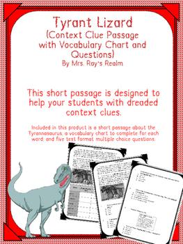 Tyrant Lizard Context Clue Passage